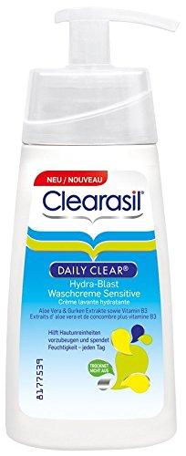 Clearasil Daily Clear Hydra-Blast Waschcreme Sensitive mit Aloe Vera und Gurken extrakte sowie Vitamin B3, 3er Pack (3 x 150 ml) - 1