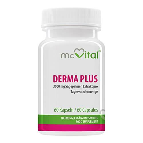 Derma Plus - gegen Akne - mit 3000 mg Sägepalmen Extrakt - Sonnenschutz - Mitesser - gegen Pickel - 60 Kapseln - 1
