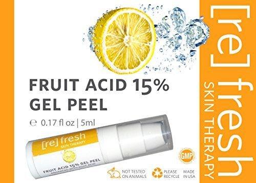 Fruchtsäurepeeling Gel 15% (Milchsäure, Glycolsäure, Brenztrauben) AHA Angereichert mit Kojisäure - Profiheimbehandlung Reisegröße (Klein) 5ml - 1
