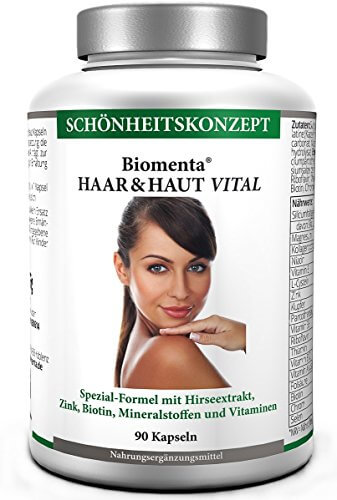 Haut Vitamine Hochdosiert Pickel - Haar aktiv (90 Kapseln, 3 Monatskur) - Biotin, Kollagen, Zink, Vitamin A,B,E, Folsäure - 1