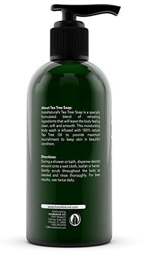 InstaNatural Antimykotische Teebaum Seife - Fuß- & Duschlotion gegen Akne, Geruch, Bakterien, Nagelpilz, Fußpilz, Ringelflechte & Tinea Cruris - Beste Feutigkeitspflege für trockene, juckende & irritierte Haut - 8 oz - 2